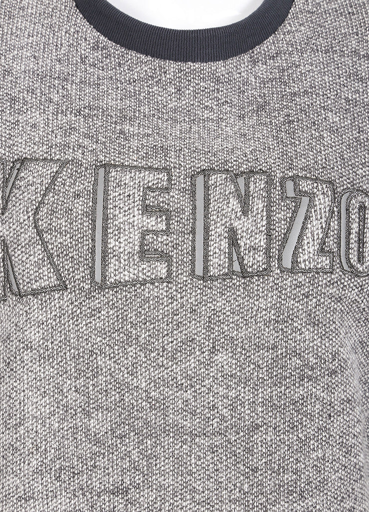 Kenzo New With Tags Grey and White Knit Wool Blend Short Sleeve Sweatshirt Detail