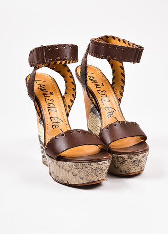 Lanvin Brown, Grey, and White Leather and Snakeskin Ankle Wrap Wedge Sandals Frontview