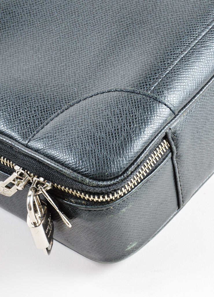 "Louis Vuitton Black Taiga Leather ""Odessa"" Laptop Carrying Briefcase Detail"