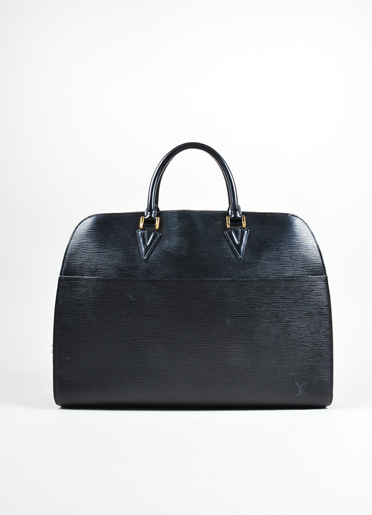 "Louis Vuitton Black Epi Leather ""Sorbonne"" Satchel Briefcase Bag Frontview"