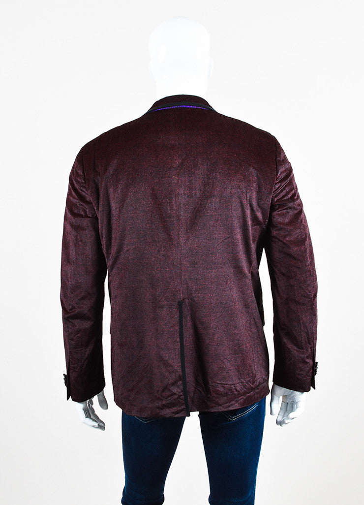 Men's Etro Maroon Black Corduroy Two Button Sport Blazer Jacket Back