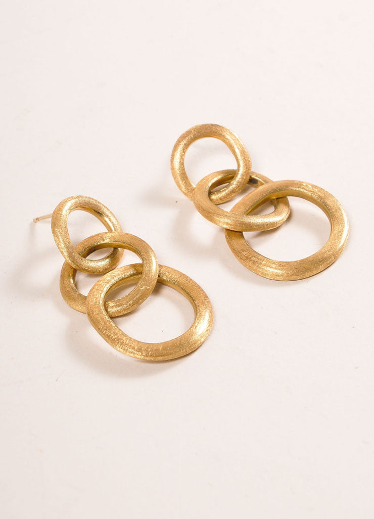 Marco Bicego 18 KT Gold Three Link Drop Earrings Sideview