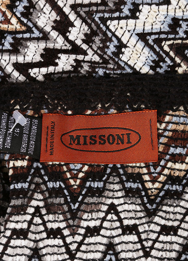 Missoni Black, White, and Multicolor Woven Knit Chevron Print Tassel Scarf Brand