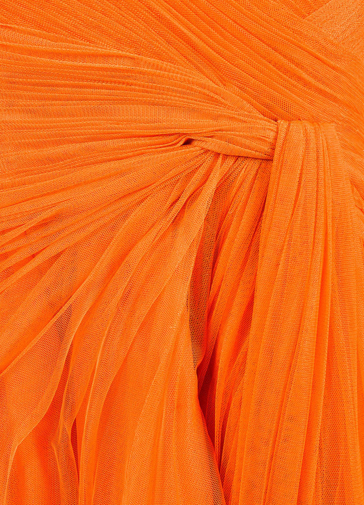 Monique Lhuillier Orange Strapless Mesh Tulle Full Gown Detail
