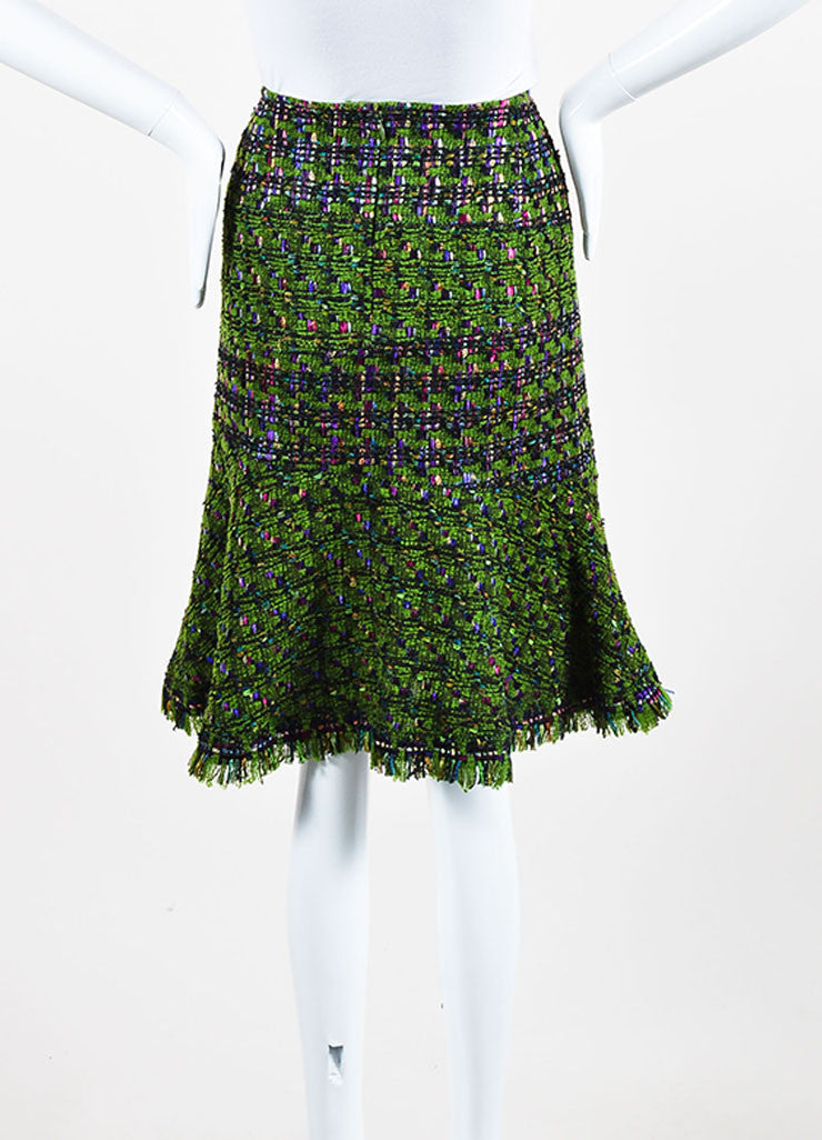 Oscar de la Renta Green, Purple, and Pink Wool Blend Tweed Flared Skirt Backview
