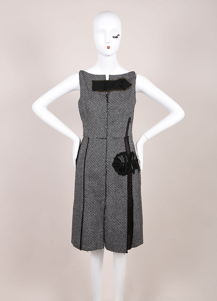 Prada Black and White Wool and Mohair Tweed Flower Embroidered Sleeveless Dress Frontview