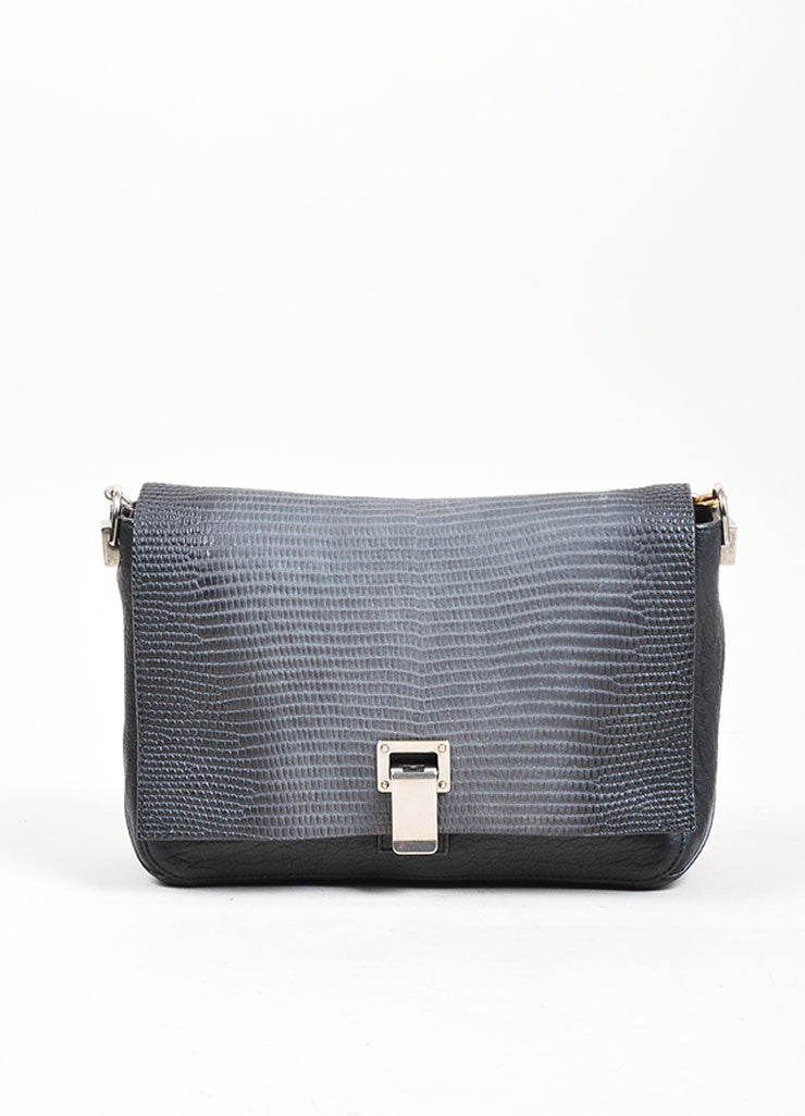 "Black Proenza Schouler Leather Embossed Snakeskin ""Courier"" Shoulder Bag Frontview"