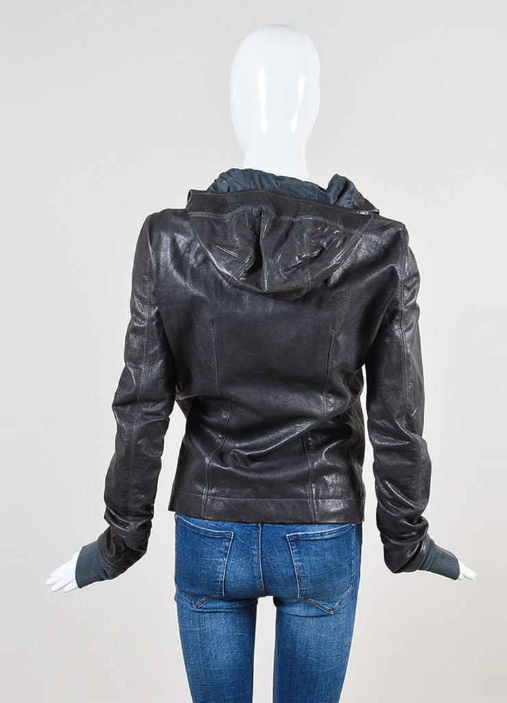 Rick Owens Grey Leather Hooded Moto Jacket Backview