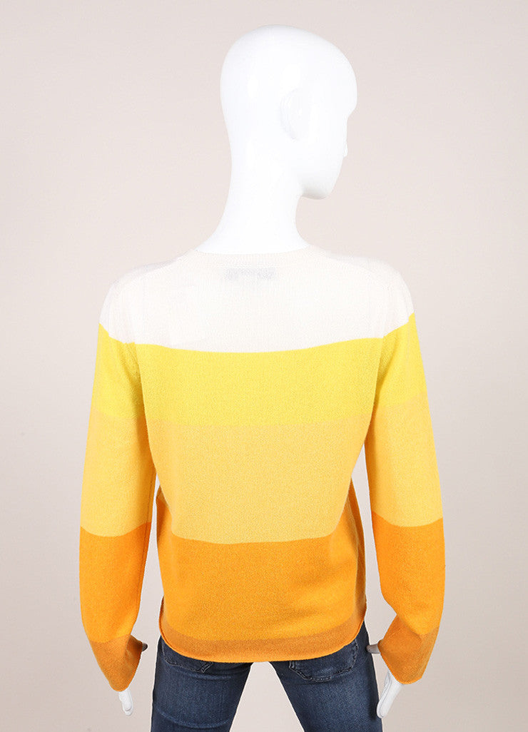 Stella McCartney Cream, Yellow, and Orange Cashmere Striped Long Sleeve Sweater Backview