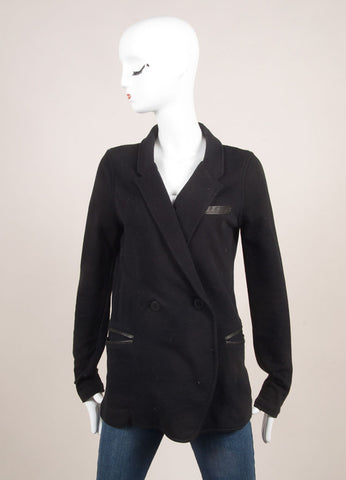 T by Alexander Wang Black Cotton Blend Leather Trim Jacket Frontview