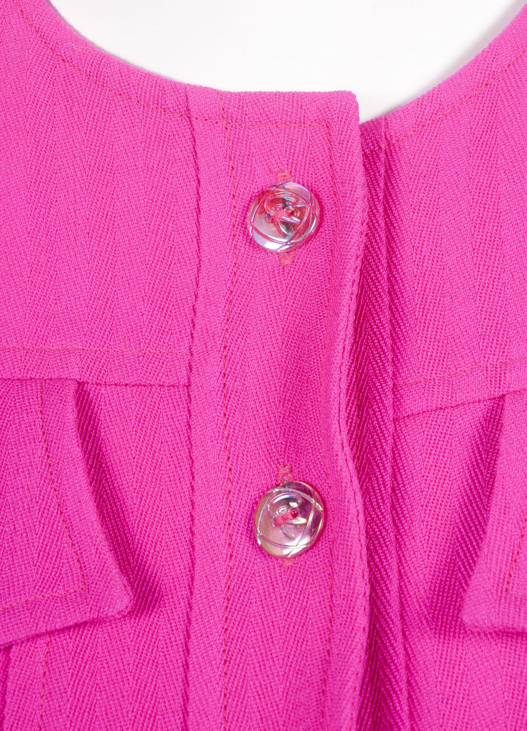 Bazar by Christian Lacroix Hot Pink Wool Jacket and Skirt Suit Detail