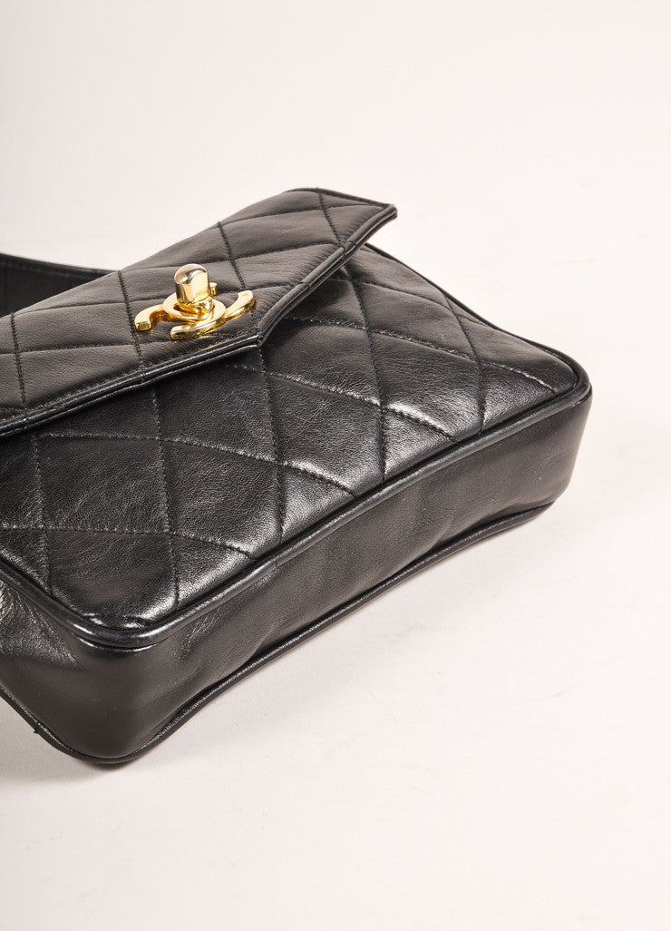 "Chanel Black and Gold Toned ""CC"" Turnlock Quilted Leather Belt Bag Bottom View"