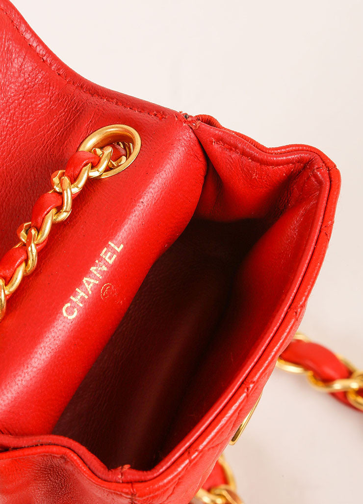 Chanel Red Mini Lambskin Flap Bag Belt Bag Interior