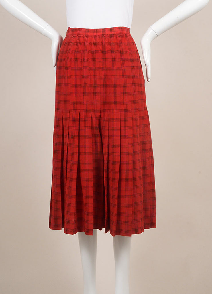 Chanel Red Plaid Pleated Midi Skirt Frontview