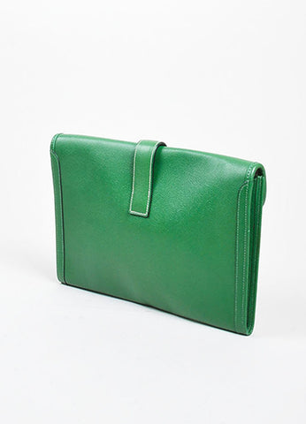 "Green Hermes Pebbled Leather ""Jige"" 'H' Envelope Clutch Bag Backview"