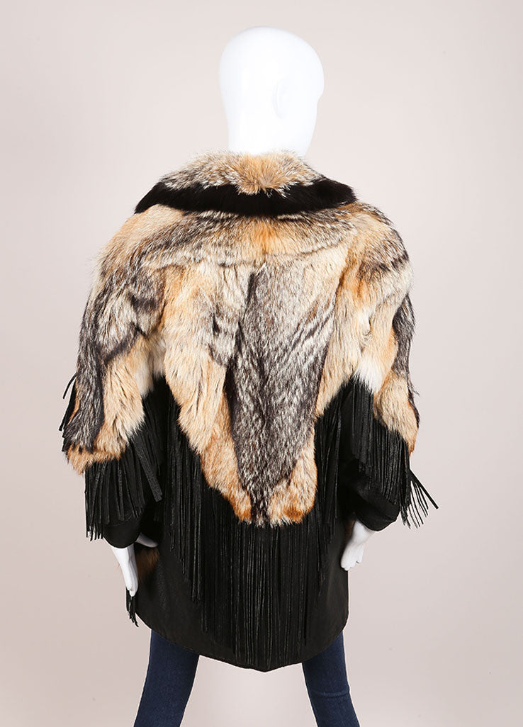 Marshall Fields Brown and Black Fur and leather Fringe Trim Mid Length Coat Backview