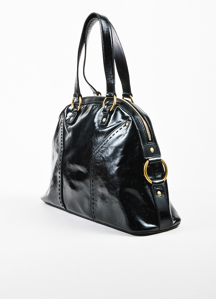 "Black Yves Saint Laurent Patent Leather Large ""Muse"" Bag Back"