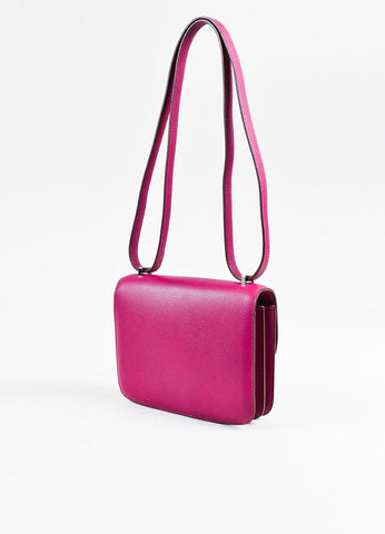 "Hermes ""Tosca"" Pink Epsom Leather 'H' Clasp Mini ""Constance"" Flap Bag Sideview"