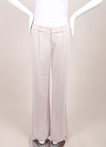 "A.L.C. New With Tags Powder Pink Wide Flare Leg Pleated ""Rude"" Trouser Pants Frontview"