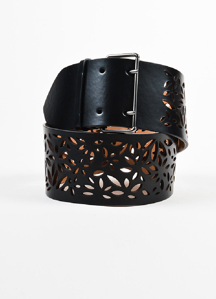 Alaia Black Leather Floral Laser Cut Out Wide Belt Frontview