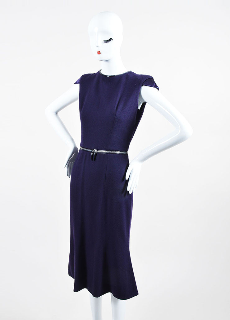 Purple Alexander McQueen Wool Zipper Cap Sleeve Dress Sideview