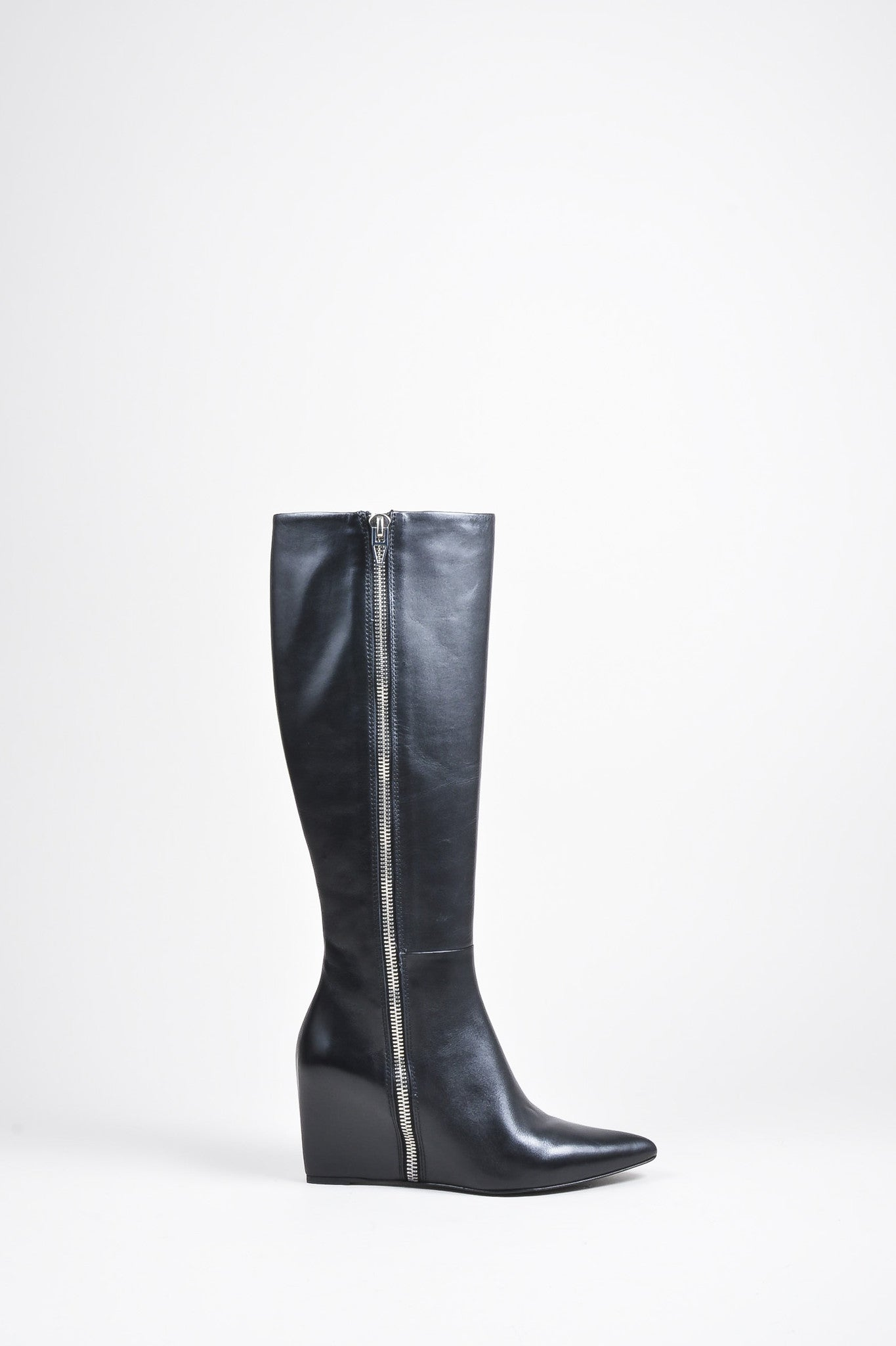"Alexander Wang Black and Silver Leather Zip ""Lea"" Wedge Boots Sideview"