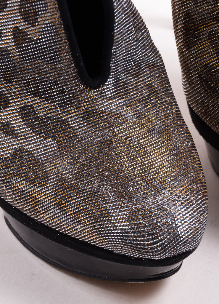 "B Brian Atwood Gold and Silver Glitter Leopard ""Fortosa"" Booties Detail"