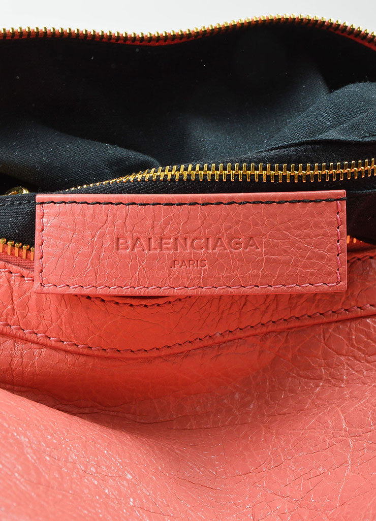 "¥éËBalenciaga Coral Pink Leather ""Giant 12 Traveller"" Convertible Backpack Brand"