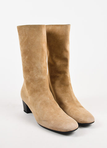 Balenciaga Beige Suede Mid Calf Low Heel Zip Up Boots Frontview