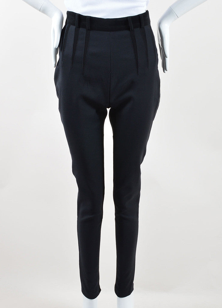Balenciaga Black Wool and Cotton Stretch Knit Zipper Leg Skinny Pants Frontview