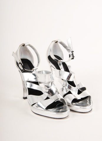Barbara Bui Silver Metallic Strappy Leather High Heel Sandals Frontview