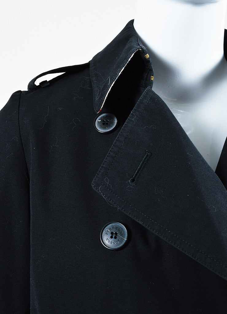 Burberry London Black Cotton Blend Belted Double Breasted Trench Coat Detail