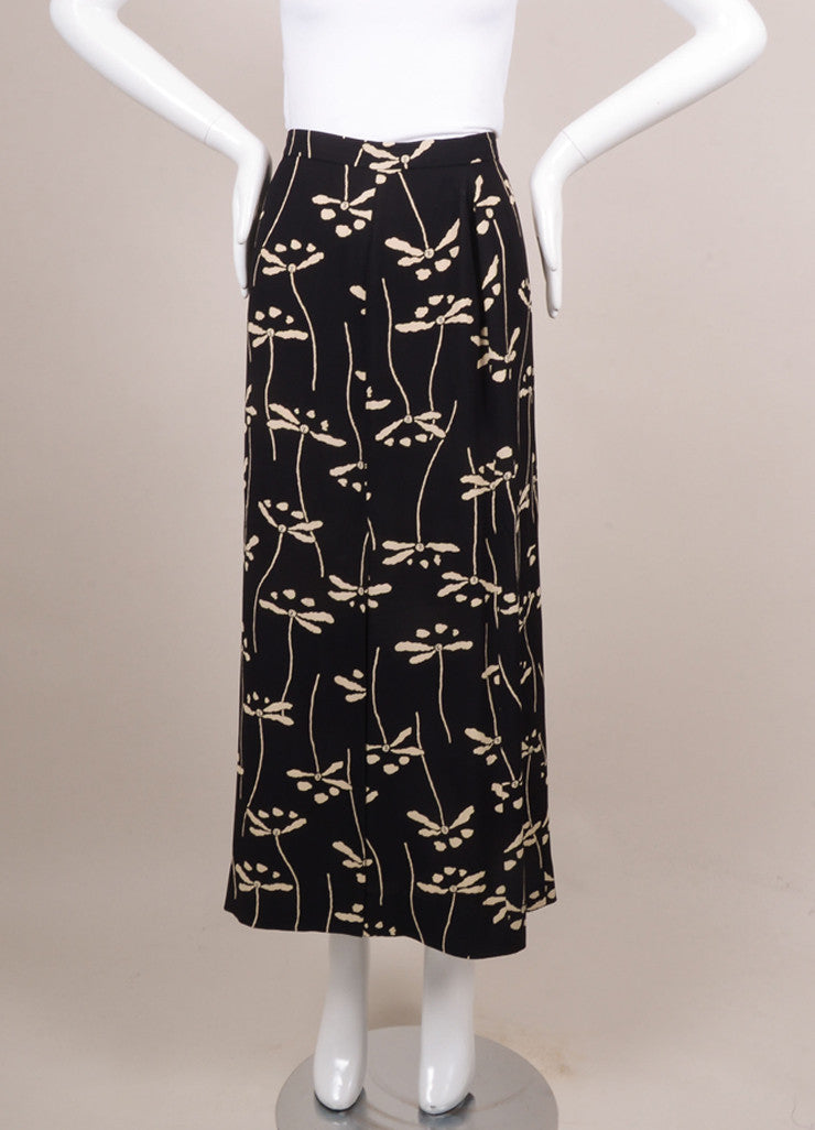 Chanel Black and Nude Waffle Knit Floral Print Maxi Skirt Frontview