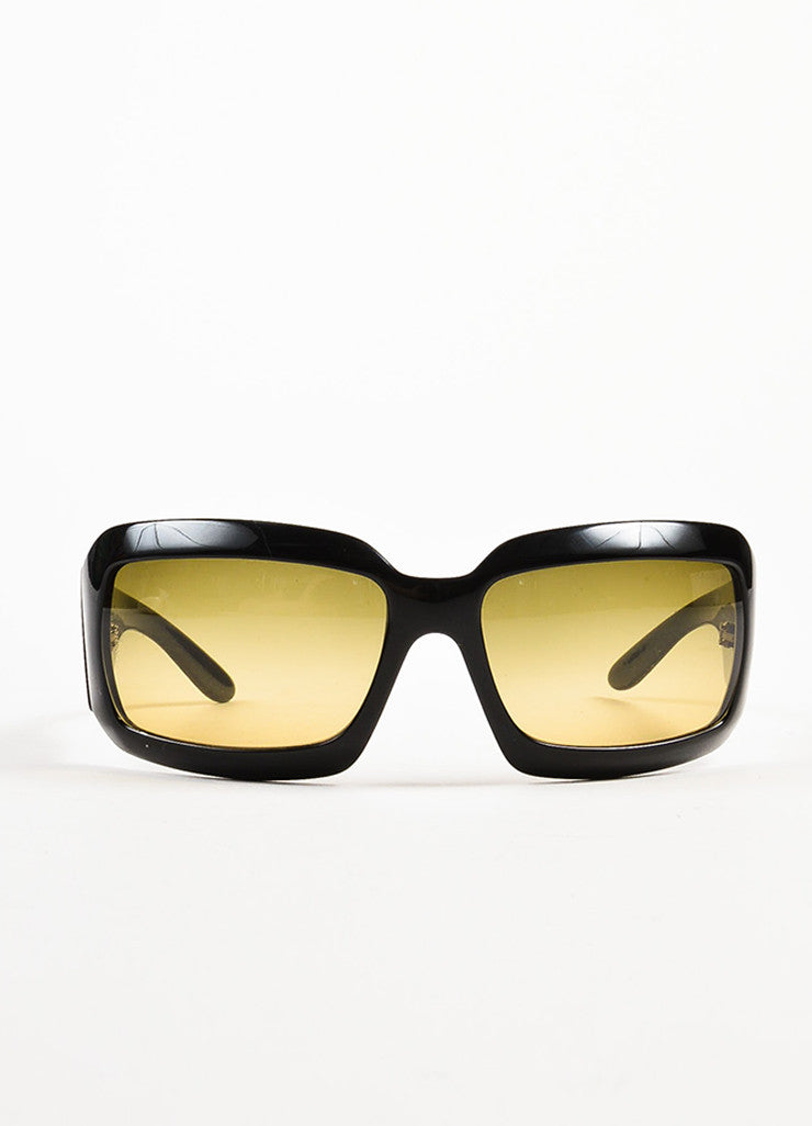 "Chanel Black and Mother of Pearl 'CC' Logo Rectangle Frame ""5076 H"" Sunglasses Frontview"