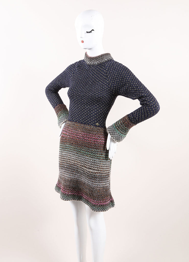 Chanel Multicolor Cotton, Wool, and Silk Metallic Knit Sweater Dress Sideview