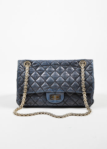 Dark Grey Chanel Leather Metallic Quilted Chain Reissue Accordion Flap Bag Frontview