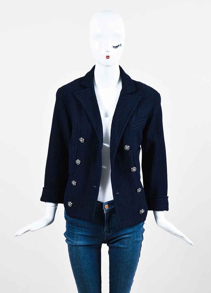 Chanel Navy Ribbed Peak Lapel Three Quarter Sleeve Double Breasted Blazer Frontview