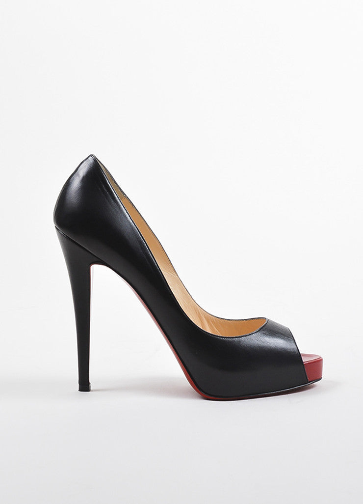 "Christian Louboutin Black and Red Leather Peep Toe ""Very Prive 120"" Pumps Sideview"