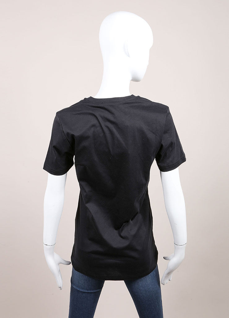 Christopher Kane New With Tags Black, Green, and Pink Floral Print Short Sleeve T Shirt Backview