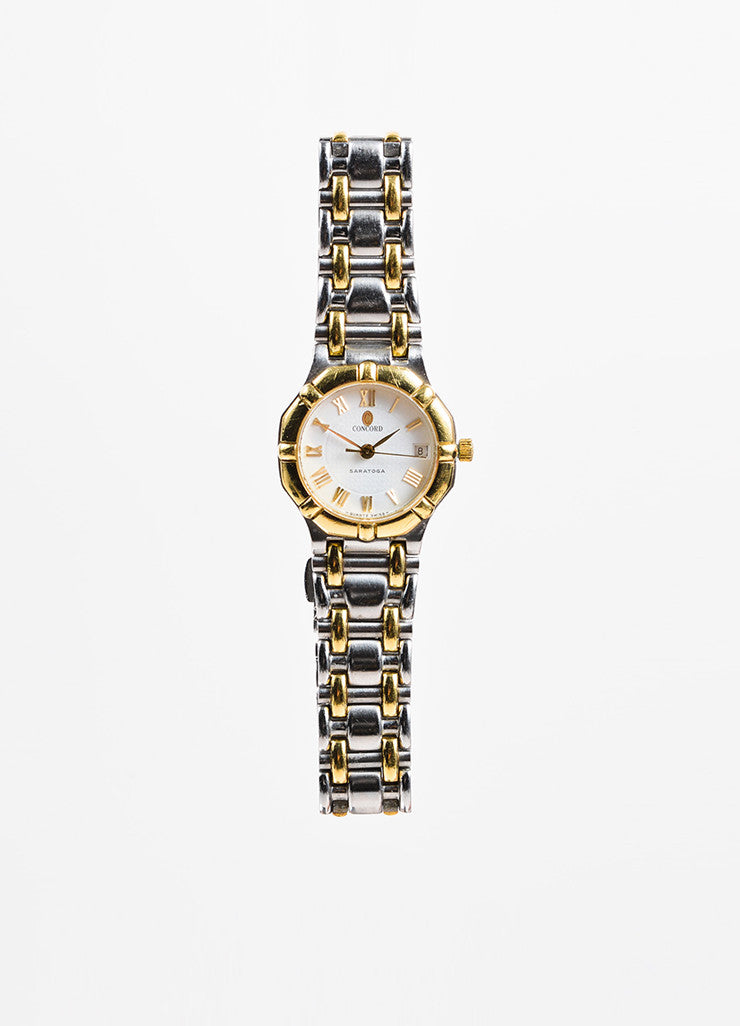 "Concord Stainless Steel and 18K Yellow Gold ""Saratoga"" Two Tone Bracelet Watch Frontview"