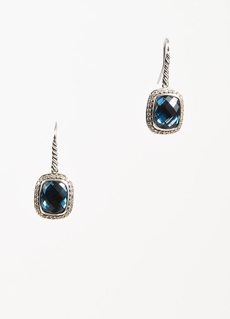 "David Yurman Blue Topaz, Sterling Silver, and Diamond ""Noblesse"" Drop Earrings Frontview"