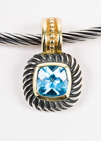 David Yurman Sterling Silver, Gold, and Blue Topaz Cable Collar Albion Necklace Detail