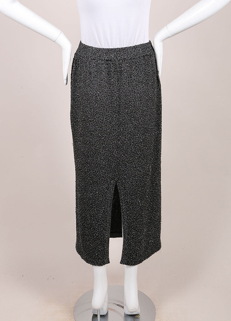 Donna Karan Charcoal Grey Bugle Beaded Wool Blend Knit Midi Skirt Backview