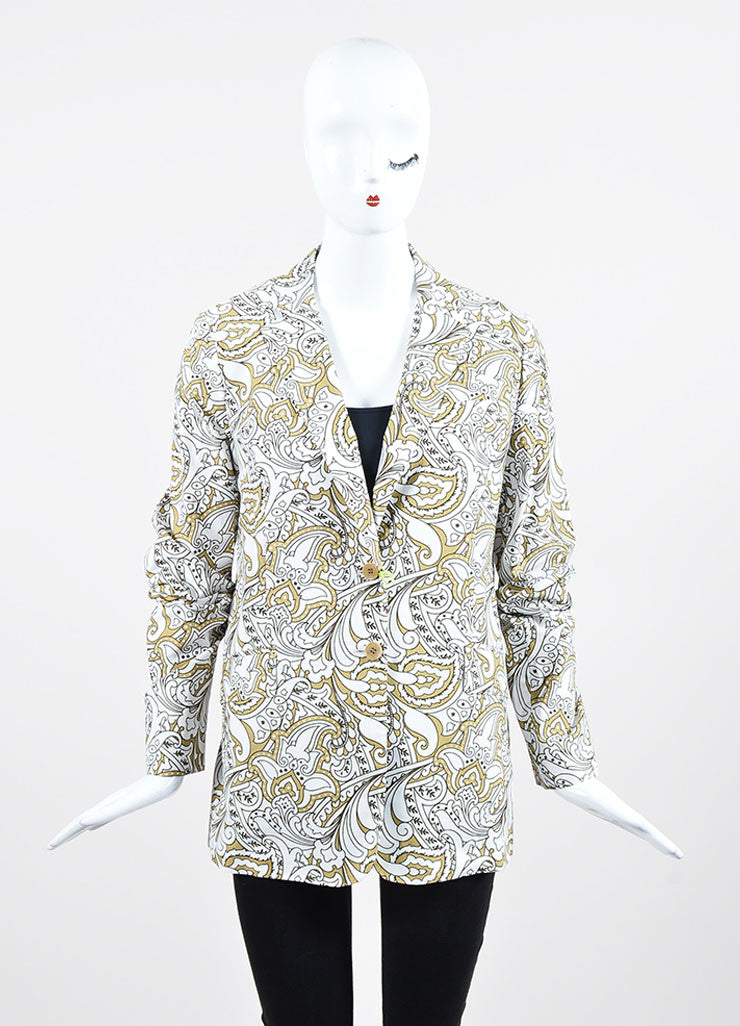 White, Hunter and Olive Green Etro Cotton Paisley Blazer Frontview