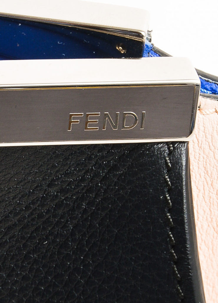 "Fendi Black, Pale Pink, and Blue Leather Color Block Medium ""3 Jours"" Satchel Brand"
