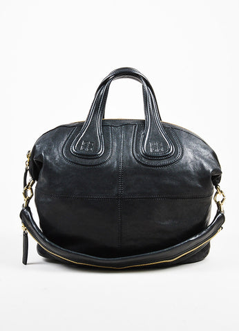 "Givenchy Black Leather ""Medium Nightingale"" Shoulder Bag Frontview"