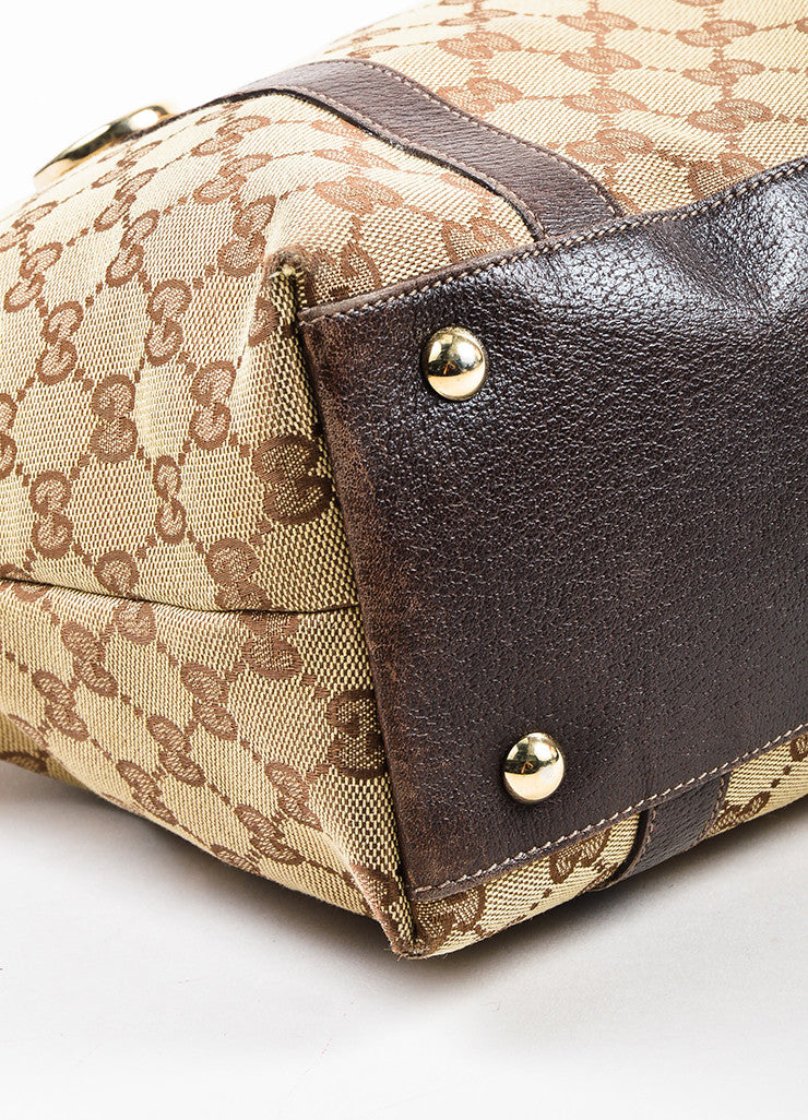 "Gucci Beige and Brown Canvas Leather Trim Medium ""Abbey"" Tote Bag Detail"