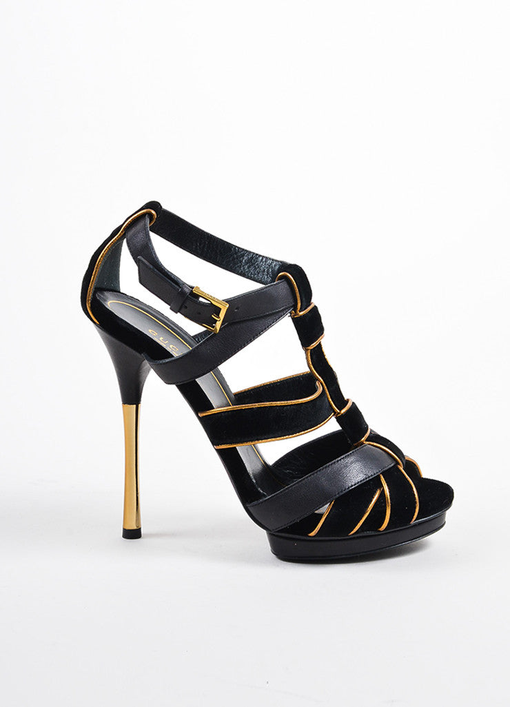 "Gucci Black and Gold Suede Leather Metallic ""Malika"" Sandal Heels Sideview"