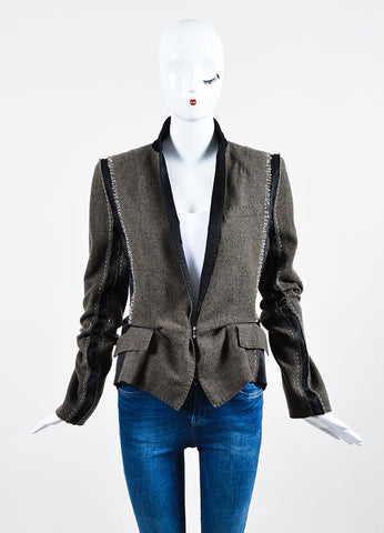 Brown,  Black, and White Haider Ackermann Wool Patchwork Blazer Frontview 2