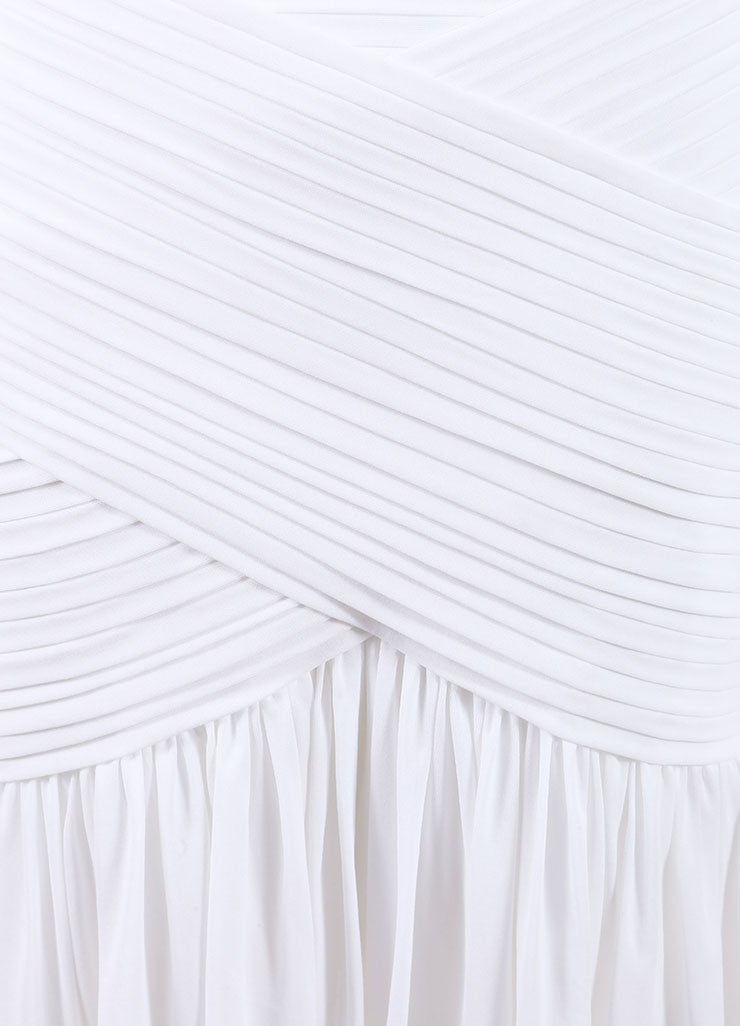 Herve Leroux New With Tags White Stretch Sleeveless Ruched Flounce Dress Detail